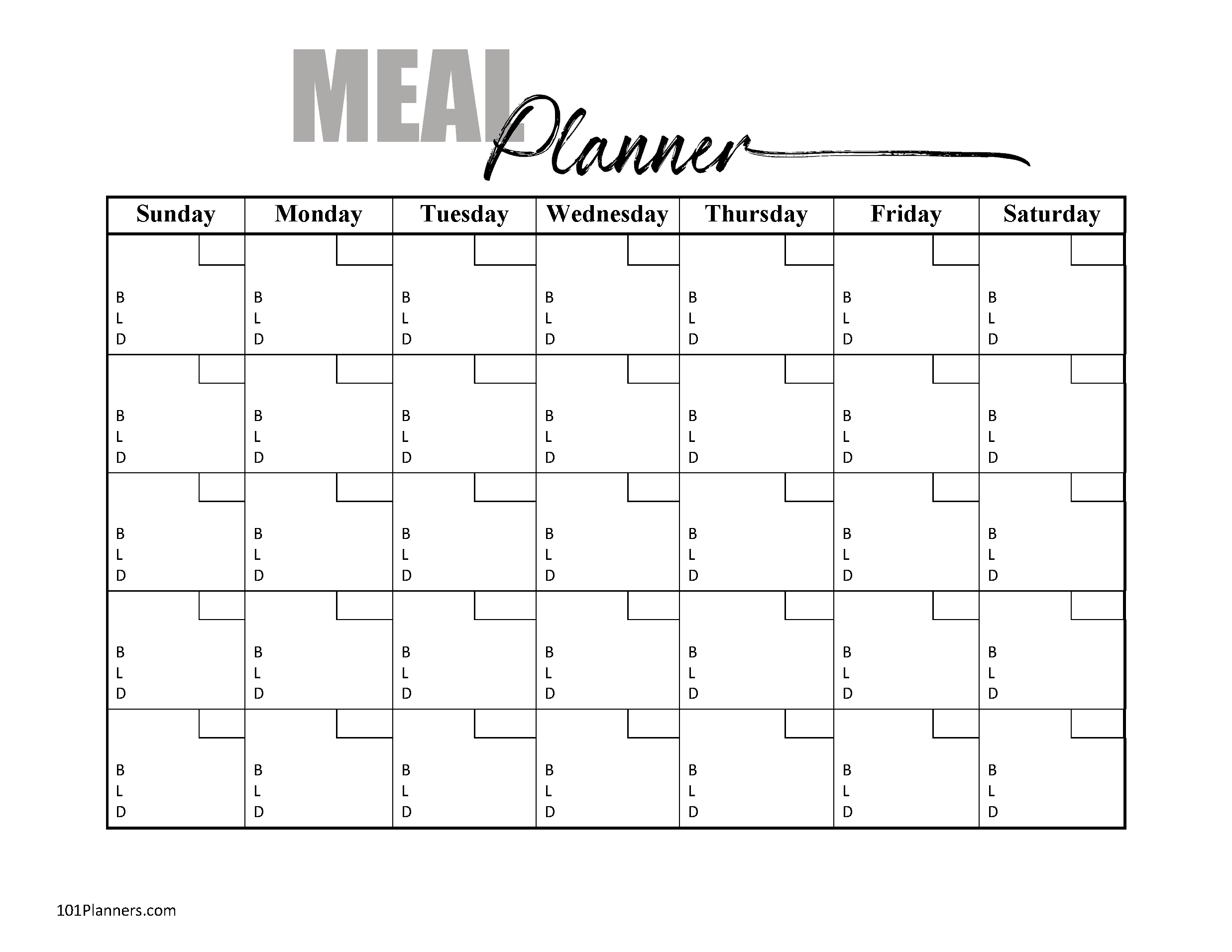 Blank Meal Plan Template from www.101planners.com