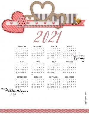 Pretty calendar for 2021