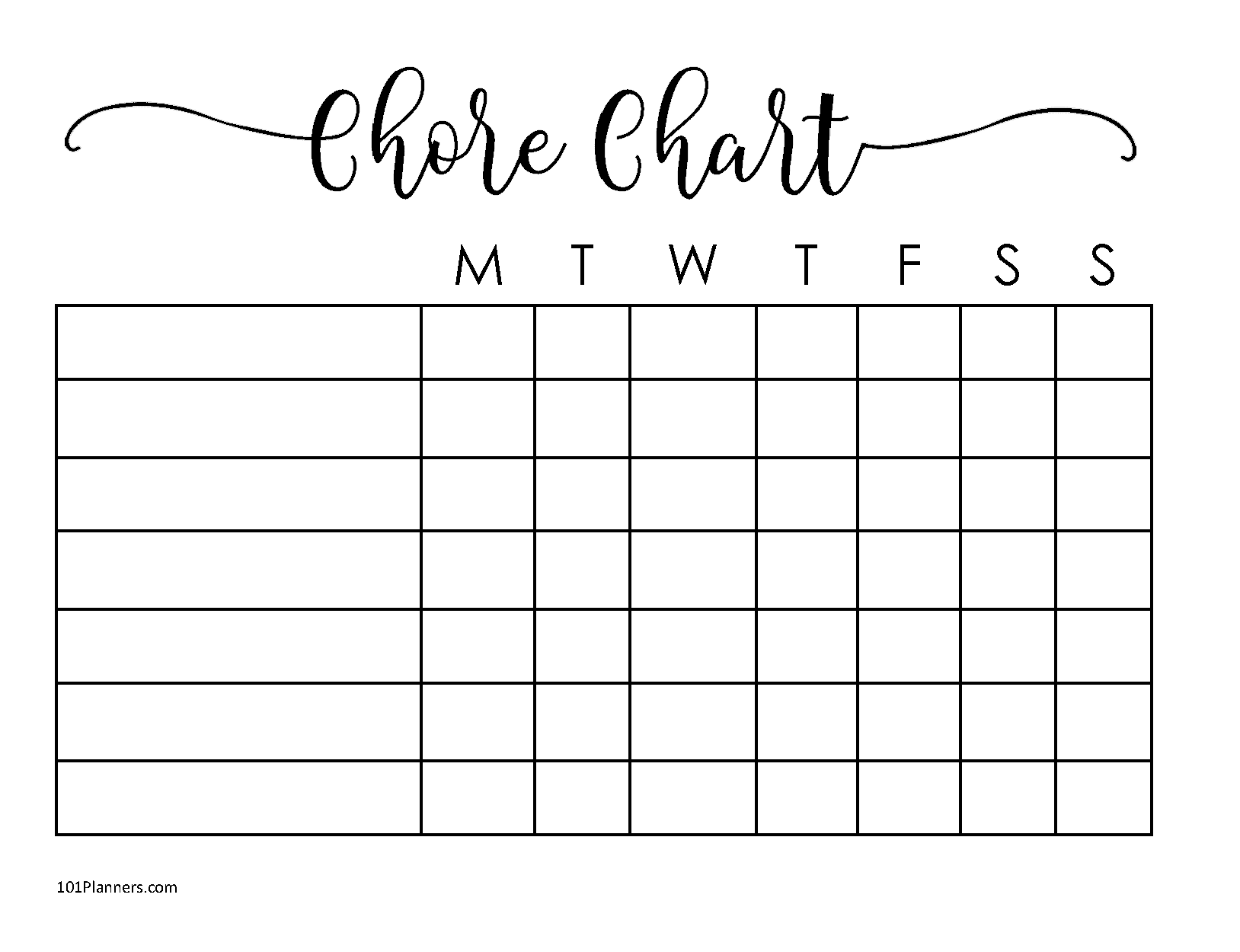 Weekly Chart Template from www.101planners.com