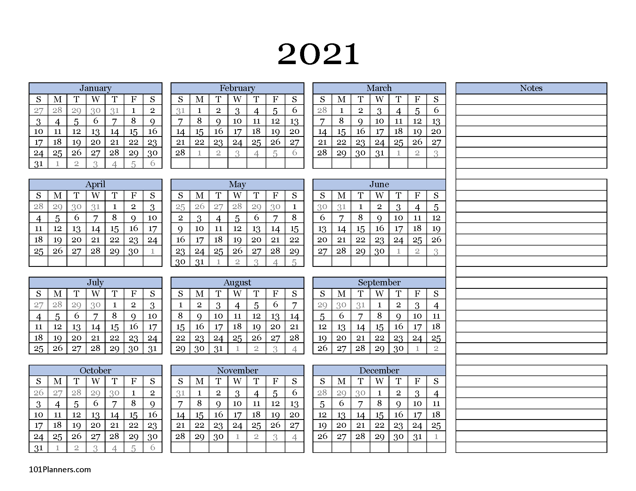 Free printable 2021 yearly calendar at a glance | 101 ...