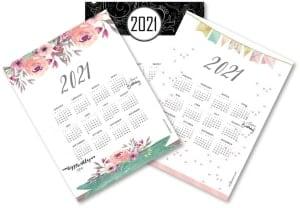 Yearly calendars 2021