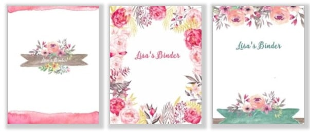Binder cover templates with pretty watercolor flowers and your own custom text