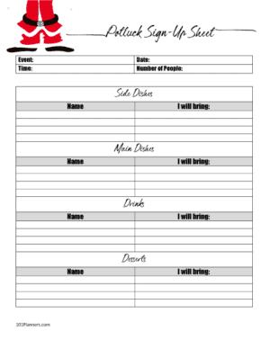 Christmas potluck sign up sheet