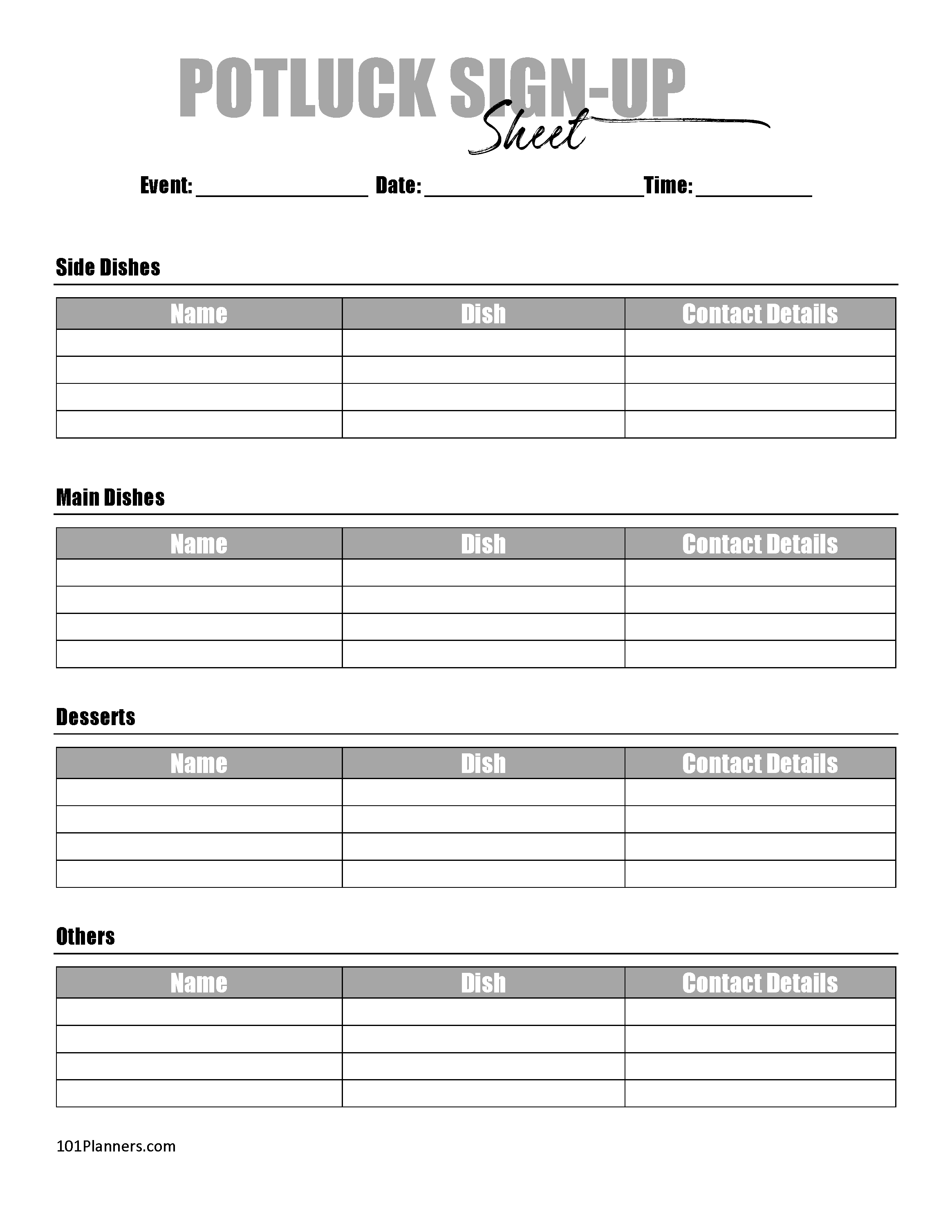 FREE Printable Potluck Sign Up Sheet | Editable | Instant ...