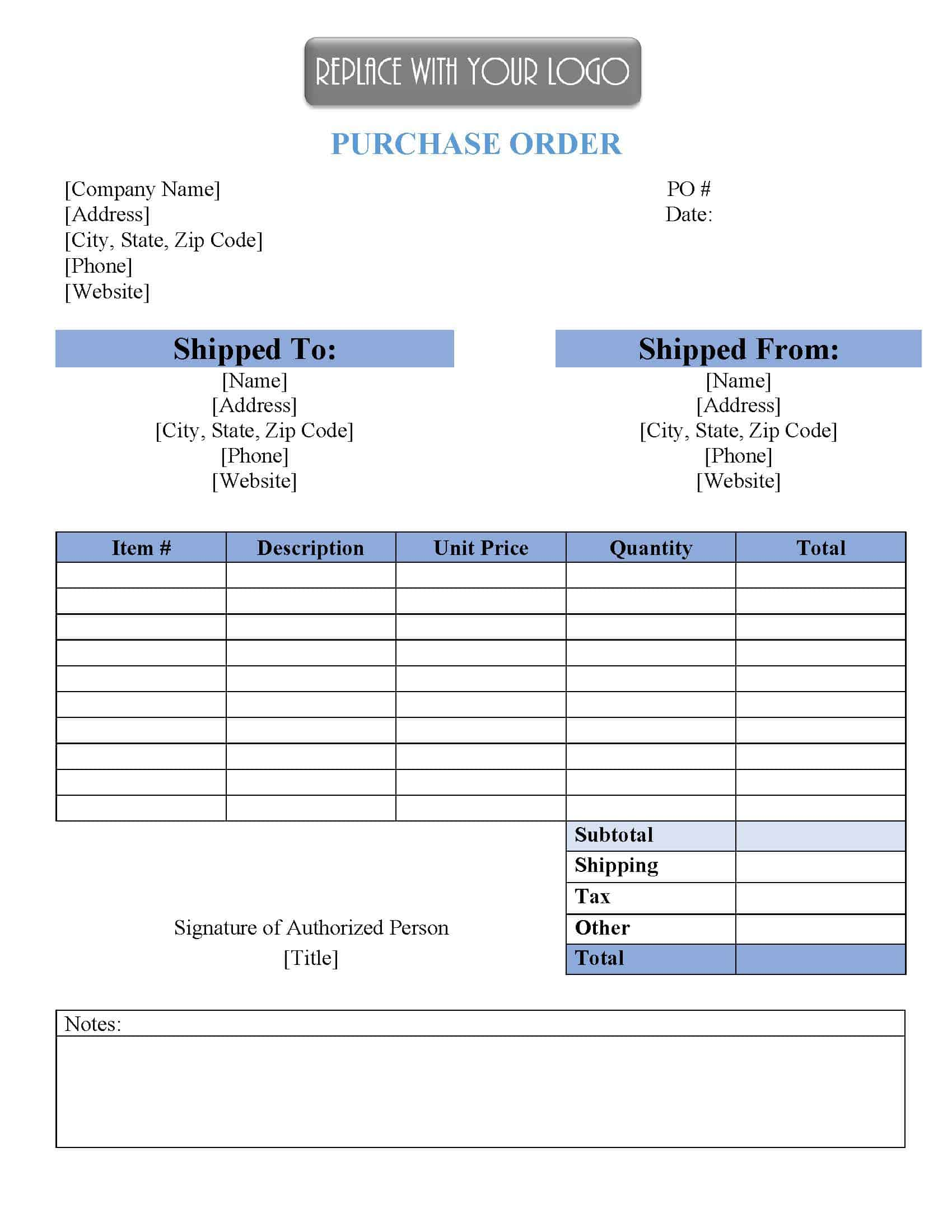 sample of purchase order template FREE Purchase Order Template  Instant Download